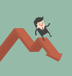 businessman on falling down chart vector image