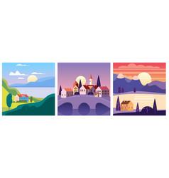 calendar set landscape summer in flat minimal vector image