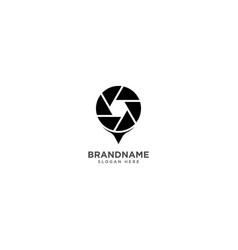 Camera pin logo design photography symbol icon vector