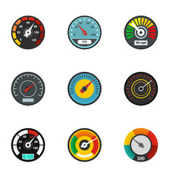 car speedometer icon set flat style vector image