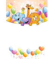 Cartoon cheerful animals holiday background vector