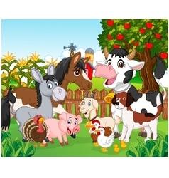 Cartoon happy animal collection vector