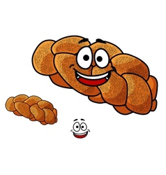 Cartoon loaf of plaited bread with poppy seed vector