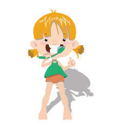 Child cleans his teeth a little girl vector