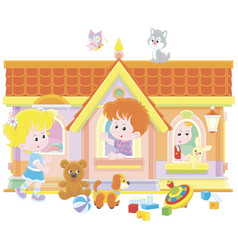 Children playing in a toy house vector