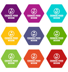 Chinese food icons set 9 vector
