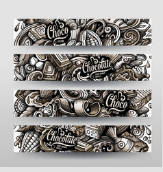 chocolate hand drawn doodle banners design vector image