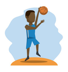 Color scene with faceless basketball player vector