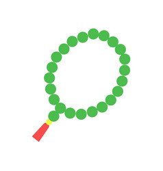 colorful muslim rosary with green beads and red vector image
