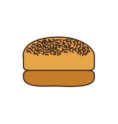 Colorful silhouette bread hamburger icon food vector
