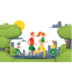 couple running in city park character female vector image