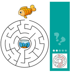 cute fish educational maze game vector image