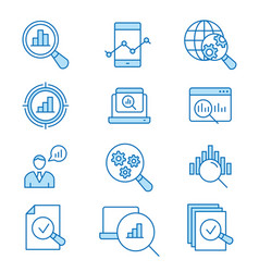 data analysis flat line icon set vector image