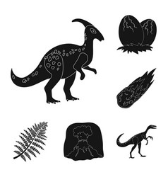 Different dinosaurs black icons in set collection vector