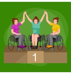 Disabled people On Wheelchair winning in sport vector