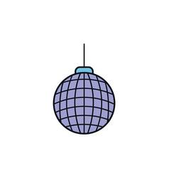 disco ball celebration party line fill design vector image