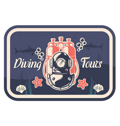 diving tours vintage typography poster template vector image