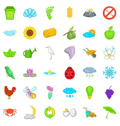 Eco icons set cartoon style vector