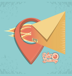 Fast delivery service with envelopes travel vector
