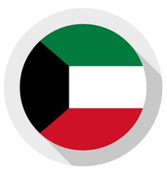 Flag kuwait round shape icon on white vector