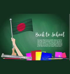 Flag of bangladesh on black chalkboard background vector