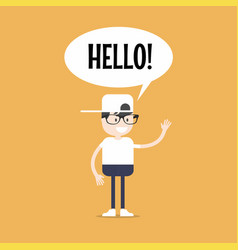 friendly nerd saying hello and waving hand vector image