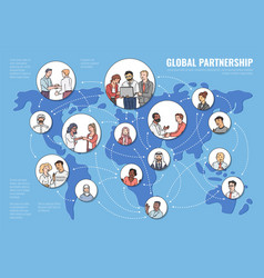 Global partnership concept with business people on vector