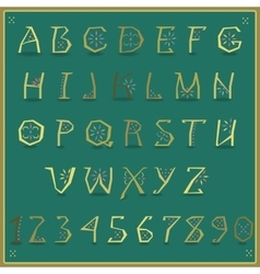 Golden alphabet artistic yellow font vector