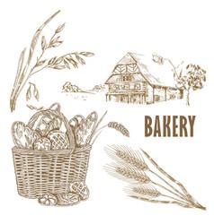 Hand drawn bread farm house oats wheat vector