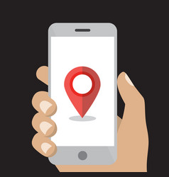 hand holding white smartphone with map point vector image