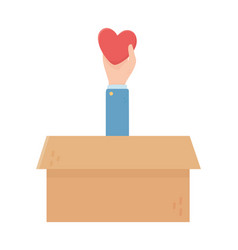hand with heart box charity and donation concept vector image