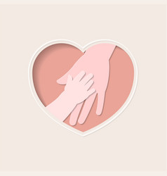 Hands mother and baby in heart shaped paper vector
