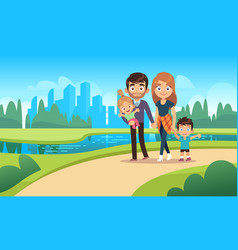 happy family walks walk park city nature vector image