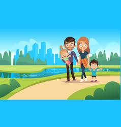 Happy family walks walk park city nature vector