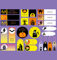 happy halloween index card set vector image