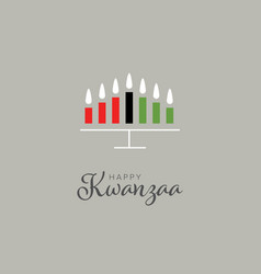 happy kwanzaa card template with seven candles vector image