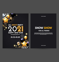 happy new 2021 year celebration setwith realistic vector image
