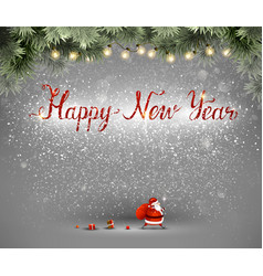 happy new year hand drawn inscription and santa vector image