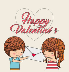 happy valentines boy gives message a girl love vector image