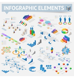 Isometric style infographics with data icons vector