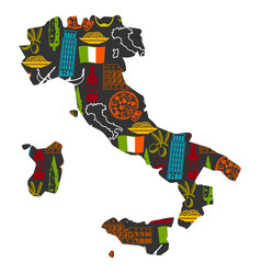 Italy background design in shape of map italian vector