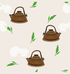 japanese tea kettle engravedseamless pattern vector image