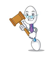 Judge cotton swab mascot cartoon vector
