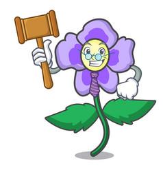 Judge pansy flower mascot cartoon vector