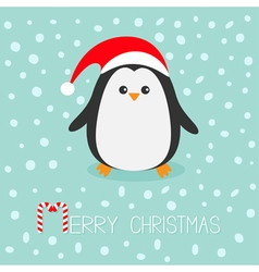 Kawaii Penguin wearing Santa red hat Cute cartoon vector image