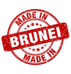 Made in brunei red grunge round stamp vector