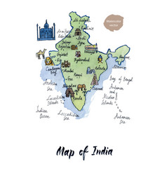 Map of india watercolor vector