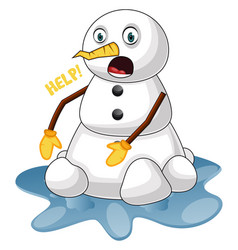 melting snowman on white background vector image
