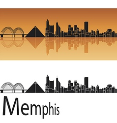 Memphis skyline in orange background vector