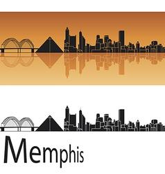 Memphis skyline in orange background vector image